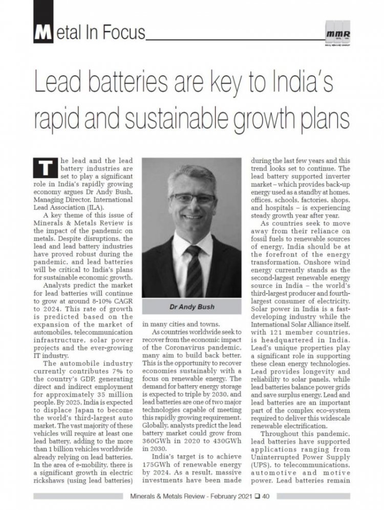 Lead batteries are key to India's rapid and sustainable growth plans - Dr Andy Bush, Managing Director, International Lead Association (ILA)